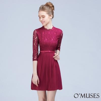 蕾絲拼接百褶雪紡洋裝-OMUSES