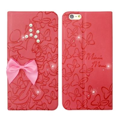 迪士尼授權 米奇米妮 iPhone 6/6s plus 5.5吋 珍珠水晶浮雕皮...