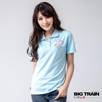 BIG TRAIN 金花月兔POLO衫-女-淺藍