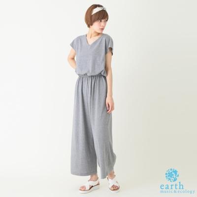 earth music 素色短袖鬆緊腰際連身褲