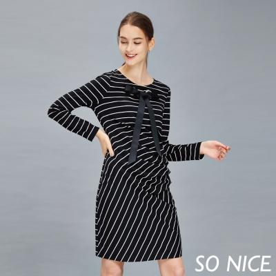 SO NICE時尚條紋綁帶造型洋裝