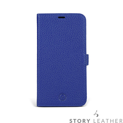 STORYLEATHER iPhone X 摺邊折疊式 荔枝紋電光藍現貨皮套