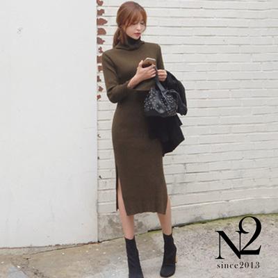 高領別緻開衩修身針織連身裙-N2