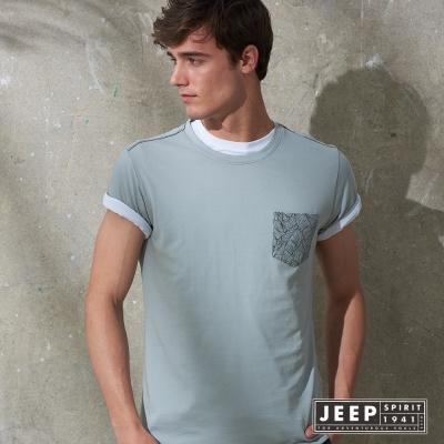 JEEP 創意印花口袋短袖TEE 灰色 (合身版)
