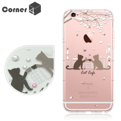 Corner4 iPhone6s / 6 PLUS 5.5吋奧地利彩鑽防摔手機殼-午茶貓咪
