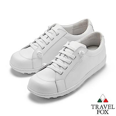 TRAVEL FOX(女) 乖乖的 超軟牛皮免綁帶舒適休閒鞋 - 俏皮白