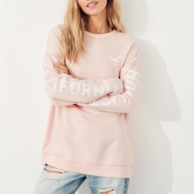 HCO Hollister 經典文字OverSize設計大學長袖T恤(女)-粉色
