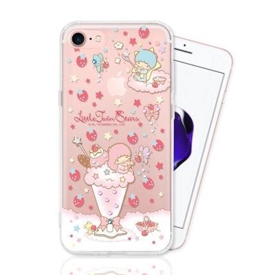 KIKILALA 雙子星 iPhone  7 彩繪空壓手機鑽殼-草莓奶昔