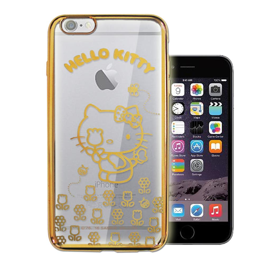 三麗鷗Hello Kitty iPhone 6s/6 4.7吋 雷雕電鍍手機殼(花香-金)