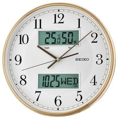 SEIKO 日本精工 雙顯 溫度/溼度/日期 靜音掛鐘(QXL014G)-金框/33.1cm