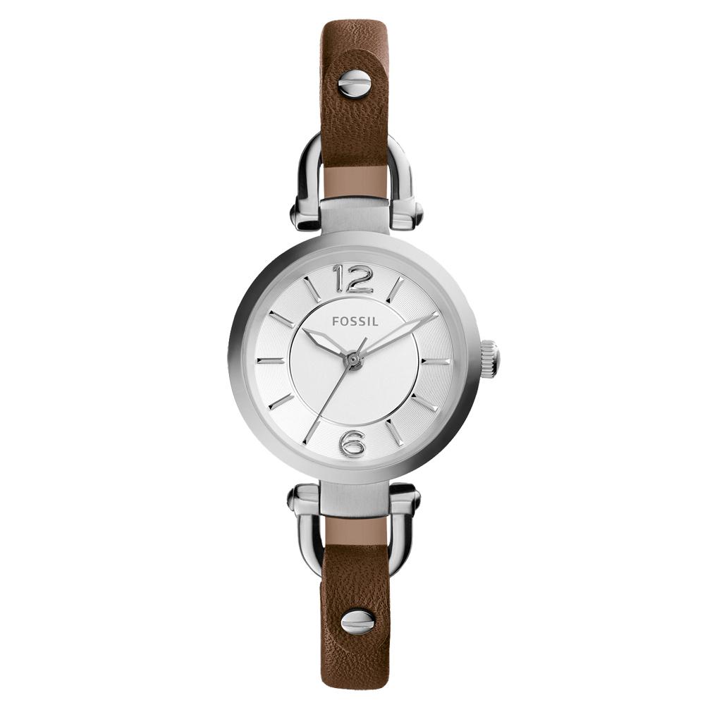FOSSIL優雅之美時尚都會腕錶-銀x咖啡28mm