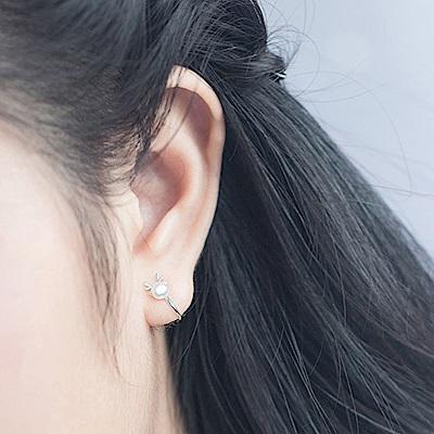 Hera 赫拉 森林系珍珠麋鹿角鹿角耳夾銀色