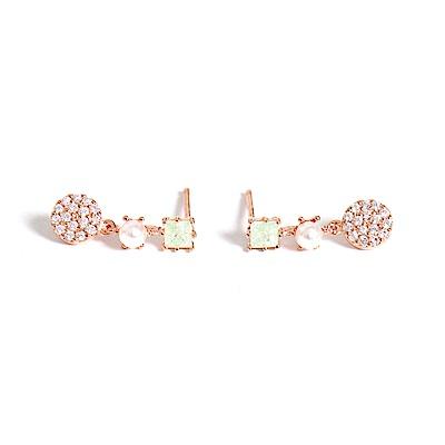 微醺禮物 正韓 鍍K金針 粉綠方鋯 人珠 垂墜小圓 簡約精緻可愛春天 耳針 耳環