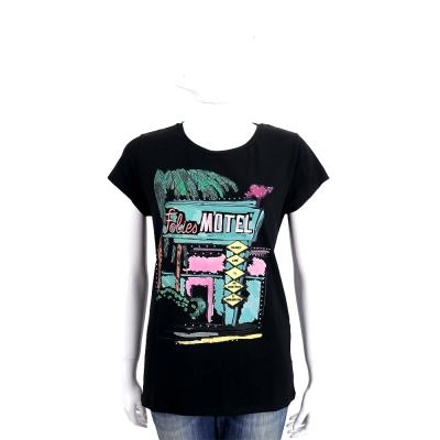 BLUGIRL-FOLIES 黑色MOTEL塗鴨棉質短袖T恤