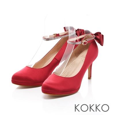 KOKKO-高級訂製優雅蝴蝶結踝帶高跟鞋-瑪莉紅