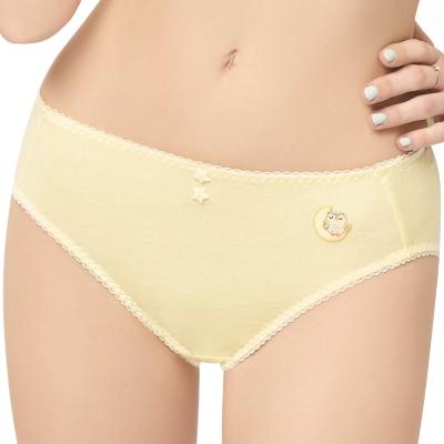 思薇爾 守護星自由風系列M-XXL素面中腰三角內褲(淺黃色)