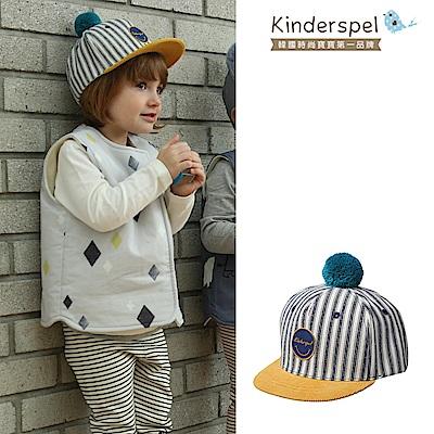 Kinderspel 可愛球球帆布帽(條紋黑)