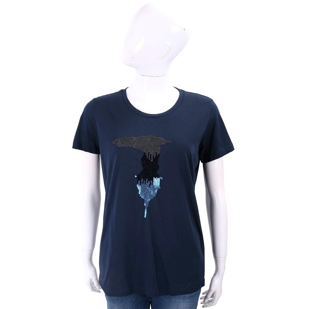 TRUSSARDI 亮片字母深藍色棉質T恤
