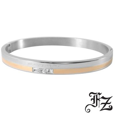 FZ  愛情誓約T鑽白鋼手環(玫瑰金)