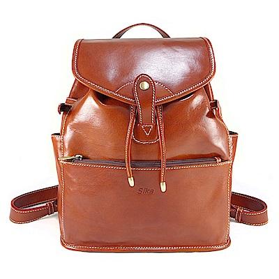 Sika義大利時尚手工真皮原味褐背包M6150-01