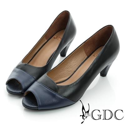 GDC都會-拼接撞色魚口真皮中跟鞋-黑色