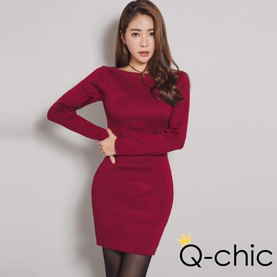 優雅羅紋一字領針織洋裝 (酒紅色)-Q-chic