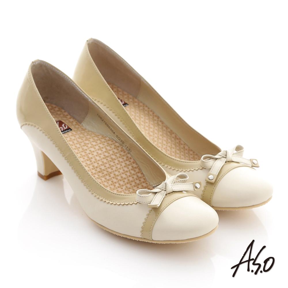 A.S.O 舒活系列 真皮典雅雙色拼接細帶蝴蝶結高跟鞋 米