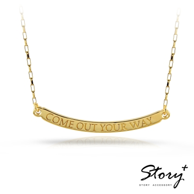 STORY ACCESSORY-訂製刻字-弧度長牌純銀項鍊