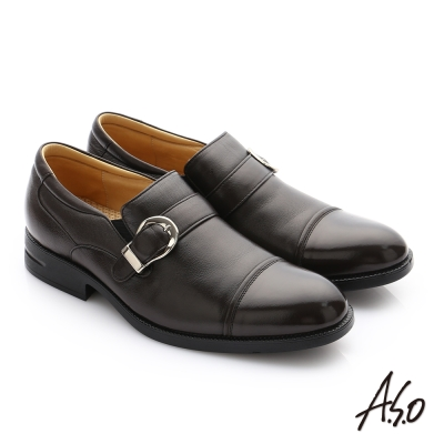 A.S.O 頂級氣墊鞋 真皮奈米皮帶飾扣紳士鞋 咖啡色