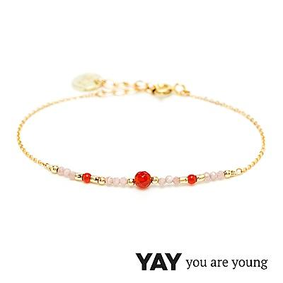 YAY You Are Young 法國品牌 Cleo 玫瑰粉玉石手鍊 平衡墜設計 金色