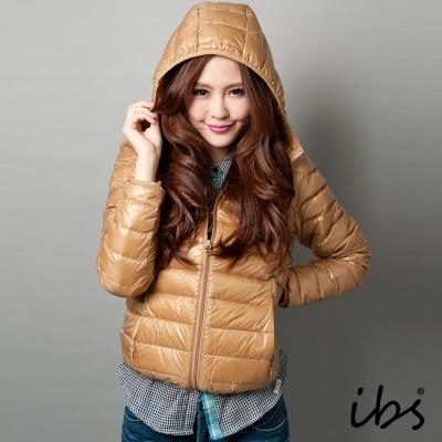 ibs-極輕量純白絨連帽羽絨外套-女-深卡其