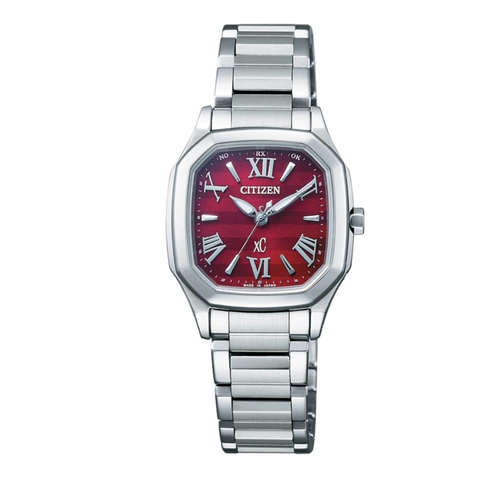CITIZEN XC 酒桶型 光動能電波腕錶(ES5050-57Y)-紅/27mm