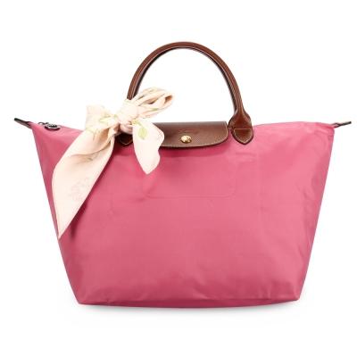 Longchamp 折疊中型水餃包(短提把/牡丹粉)-加贈帕巾