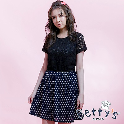 betty's貝蒂思 蕾絲簍空洋裝(黑)