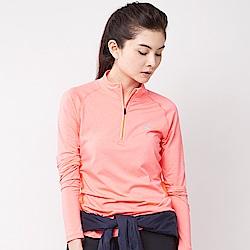 【AIRWALK】立領吸排運動緊身衣-淺麻橘