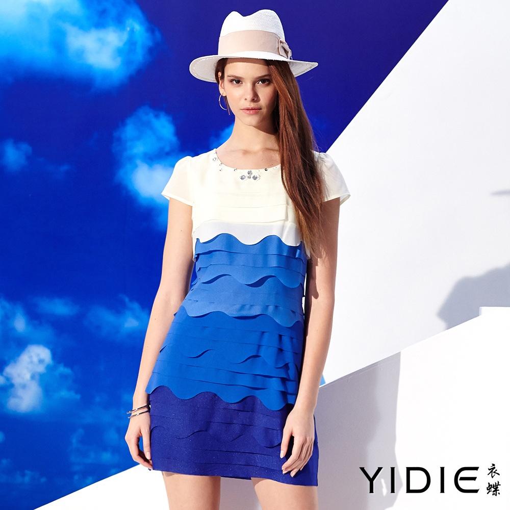 YIDIE衣蝶圓領鑽飾漸層雪紡拼接短洋裝