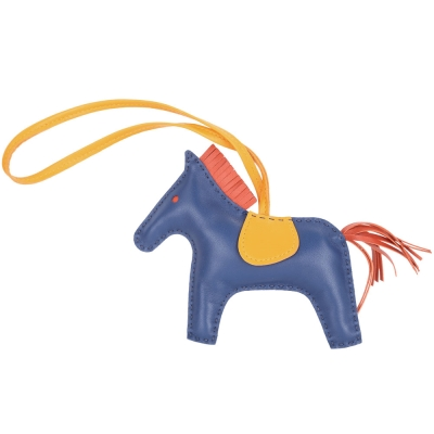 HERMES Rodeo MM 馬兒拼接小羊皮鑰匙圈/吊飾(藍x黃)