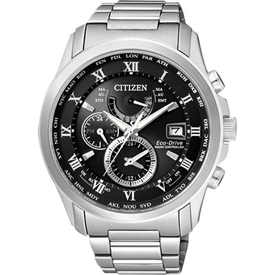 CITIZEN 光動能電波萬年曆腕錶(AT9080-57E)-黑/43mm
