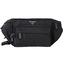 PRADA Tessuto 經典三角牌多功能口袋設計尼龍斜背包(黑色)