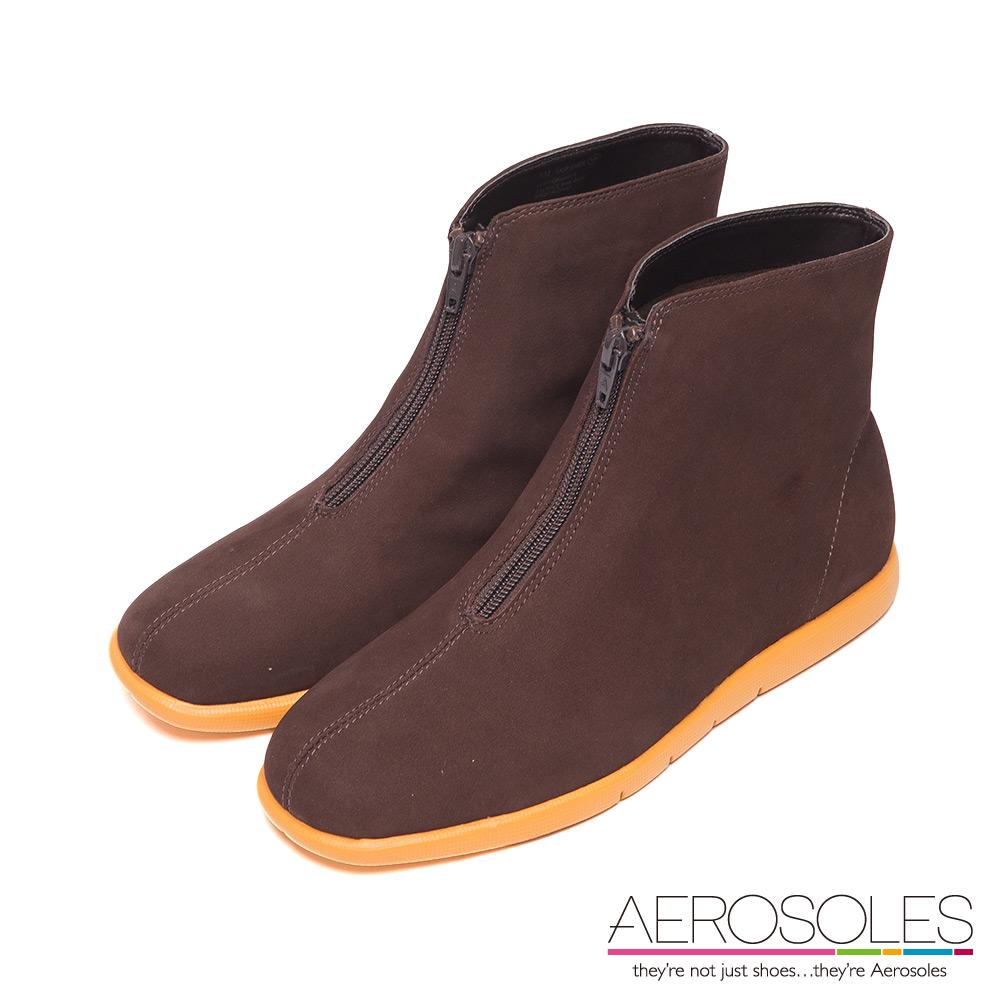 AEROSOLES 超輕系列 率性俐落拉鍊飾高筒休閒鞋~簡潔咖