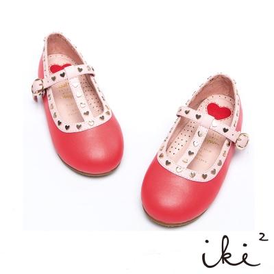 iki2童鞋-真皮粉嫩愛心扣環娃娃鞋-亮麗橘