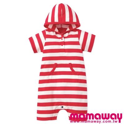 Mamaway-Baby連帽口袋平口褲包屁衣-共三
