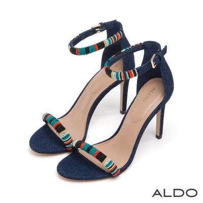 ALDO-魅惑藍一字彩色繫踝高跟涼鞋-性感深藍