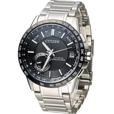 CITIZEN 星辰 光動能感光衛星紳士腕錶(CC3007-55E)-黑/44.5mm