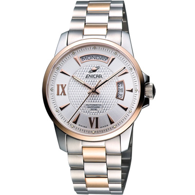 ENICAR 英納格 恆動經典日曆機械腕錶-銀x雙色版/40mm