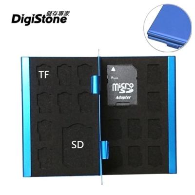 DigiStone 超薄型鋁合金18片裝雙層多功能記憶卡收納盒(2SD+16TF)-藍色