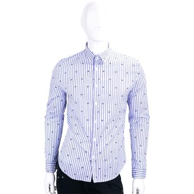 LOVE MOSCHINO 藍紫色星球印花條紋長袖襯衫