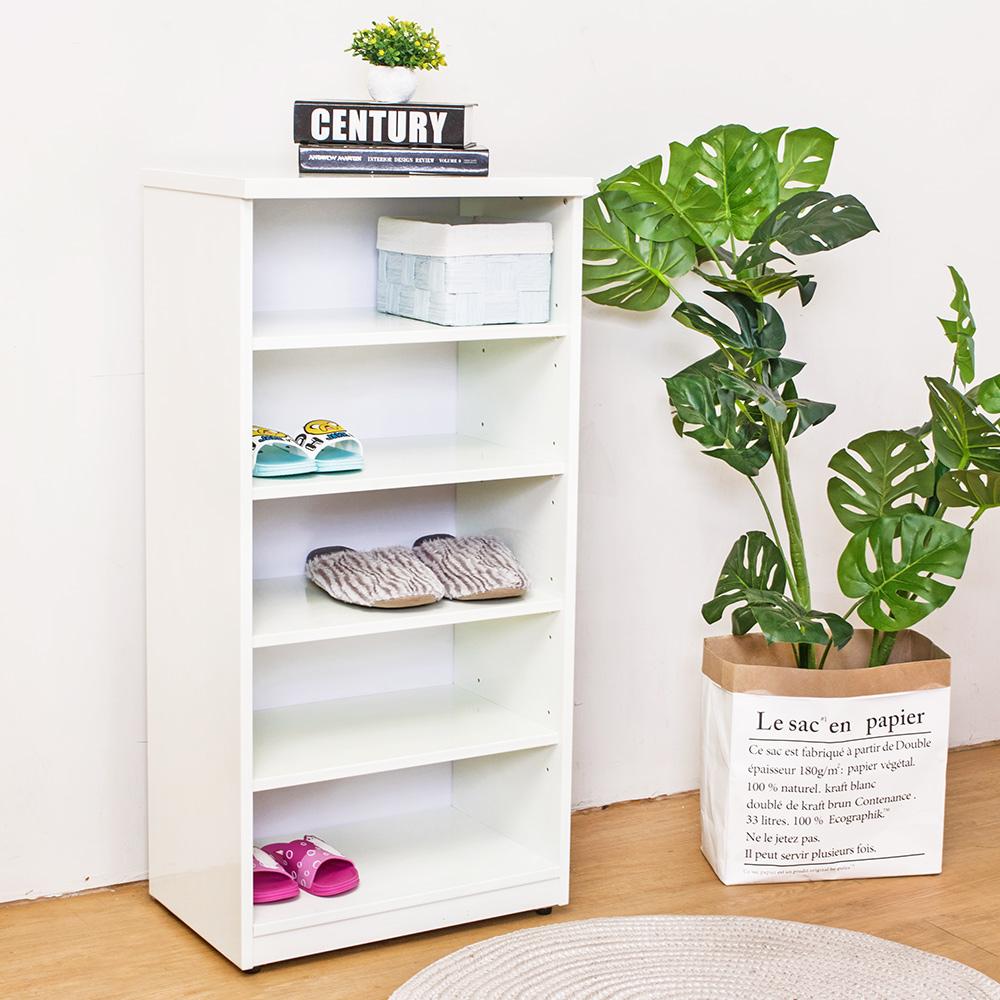 Birdie南亞塑鋼-1.6尺開放式五格收納櫃/置物櫃/鞋櫃(白)-49x33x100cm