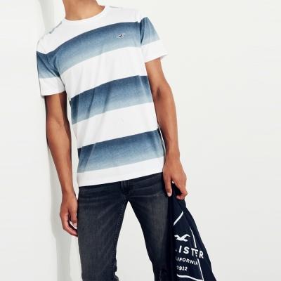 HCO Hollister 經典刺繡海鷗藍白漸層條紋設計素色短袖T恤-藍白色