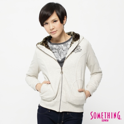 SOMETHING豹紋奢華連帽拉T-女款-米白色